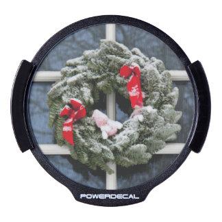 Snowy christmas wreath LED window decal