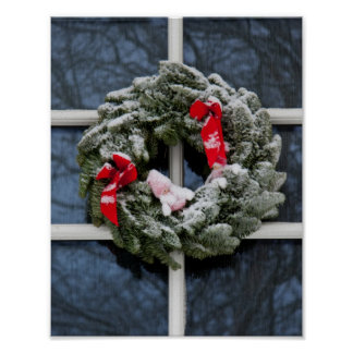 Snowy christmas wreath posters