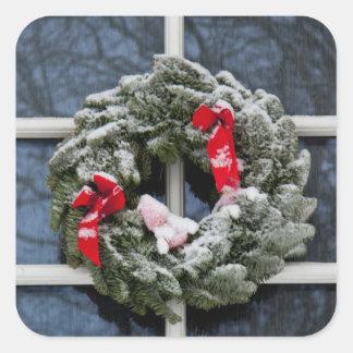 Snowy christmas wreath square sticker