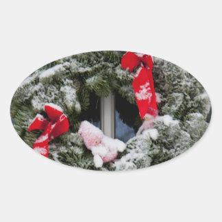 Snowy christmas wreath stickers