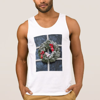 Snowy christmas wreath tank top