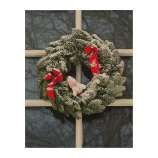 Snowy christmas wreath wood canvases