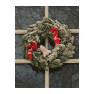 Snowy christmas wreath wood canvases