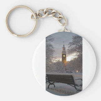 Snowy Clock Tower with Bench Key Ring