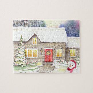 Snowy Cottage Jigsaw Puzzle