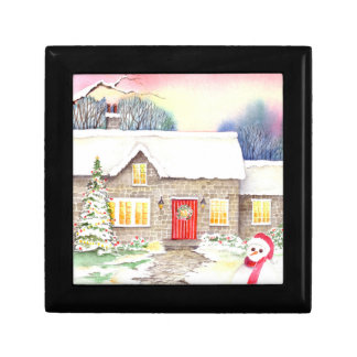 Snowy Cottage Watercolor Painting Gift Box