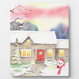 Snowy Cottage Watercolor Painting Plaque