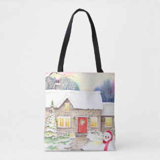 Snowy Cottage Watercolor Painting Tote Bag