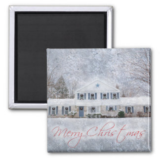 Snowy Country Rural Christmas Holiday Greeting Square Magnet