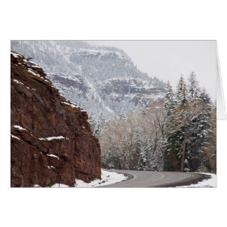 snowy curved road card