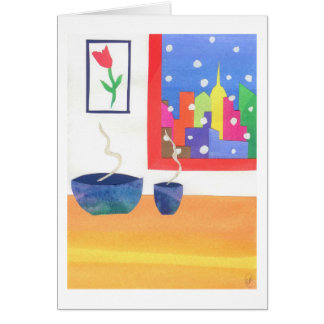 Snowy Day at Home Greeting Card
