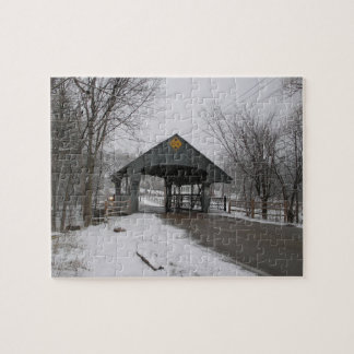 Snowy Day at the Historic Covered Bridge Jigsaw Puzzle