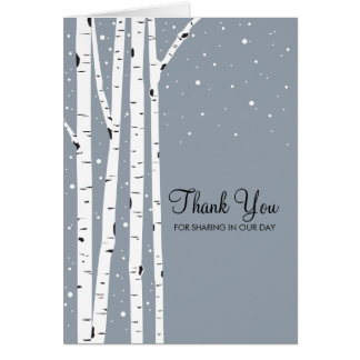 Snowy Day Birch Trees Note Card