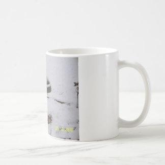 snowy day birdbath coffee mug