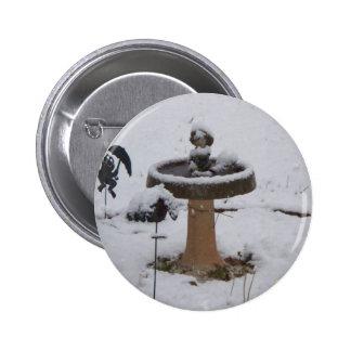 snowy day birdbath pinback buttons