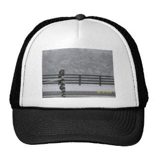 snowy day fence trucker hats