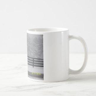 snowy day fence coffee mugs