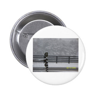 snowy day fence pinback buttons