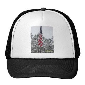 snowy day flag trucker hats
