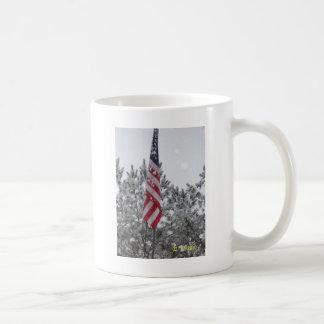 snowy day flag coffee mugs