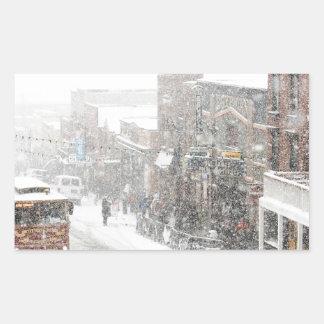 snowy day rectangular sticker