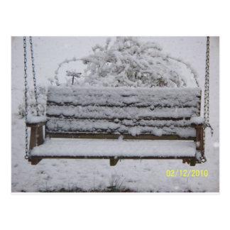 snowy day swing postcard