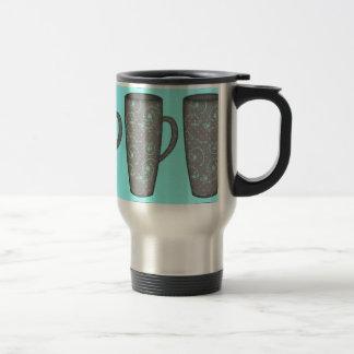 SNOWY DAY TALL MUG GREY GRAY AQUA BLUE COFFEE TEA