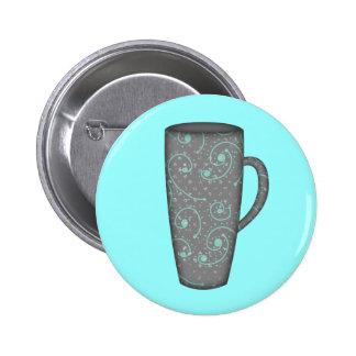 SNOWY DAY TALL MUG GREY GRAY AQUA BLUE COFFEE TEA BUTTONS