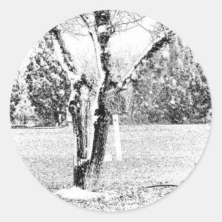 Snowy Day with Trees Round Sticker