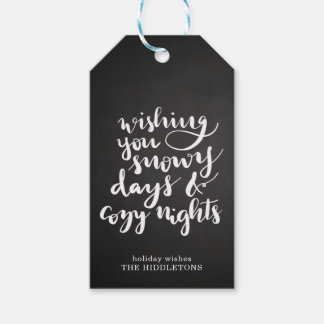 Snowy Days Cozy Nights Script Holiday | Chalkboard Gift Tags