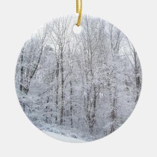 snowy days round ceramic decoration