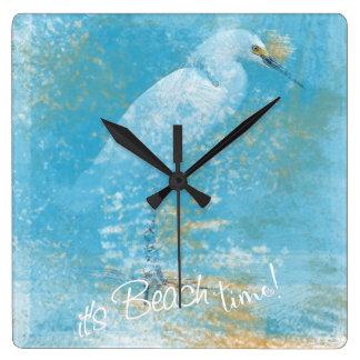 Snowy Egret Clock It's Beach Time!