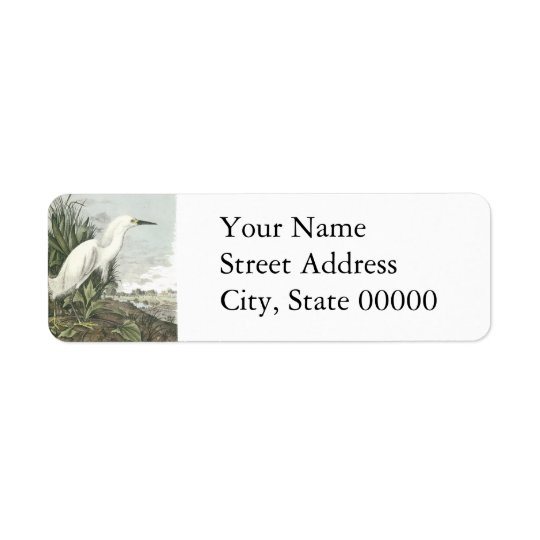 Snowy Egret, John Audubon Return Address Label