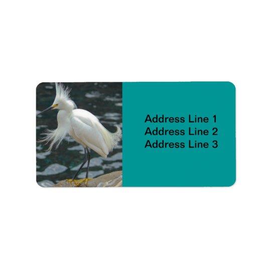 Snowy Egret Label