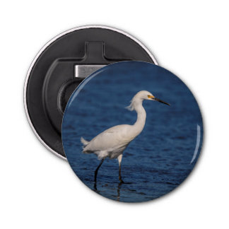 Snowy Egret on North Beach Bottle Opener