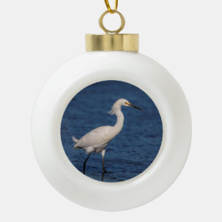 Snowy Egret on North Beach Ceramic Ball Christmas Ornament