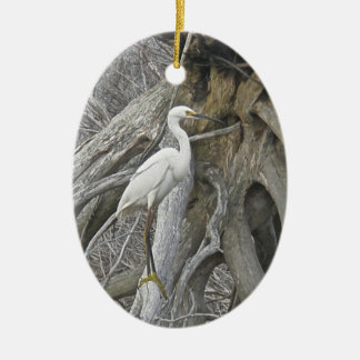Snowy Egret Season's Greetings Ornament