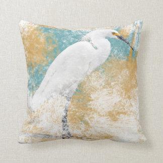 Snowy Egret   Throw Pillow - Coastal & Beach Life
