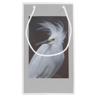 Snowy Egret with Bad hair Day? caption Small Gift Bag