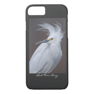 Snowy Egret with Bad hair Day? caption iPhone 7 Case