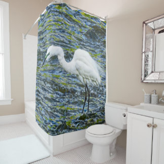 Snowy Egret with Blue & Green Lake Fractal Art Shower Curtain