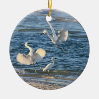 Snowy Egrets Dancing (Can be Personalized) Ceramic Ornament