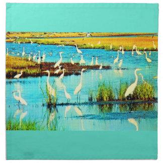 snowy egrets print napkin