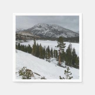 Snowy Ellery Lake California Winter Photography Paper Napkin