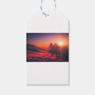 Snowy Evening Sunset Gift Tags