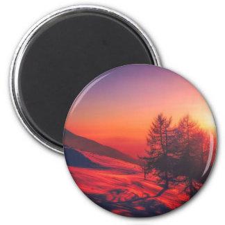 Snowy Evening Sunset Magnet