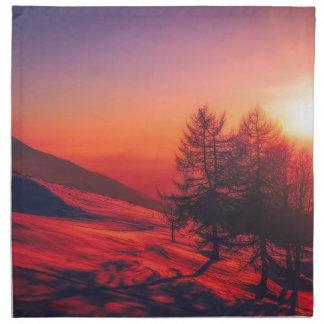 Snowy Evening Sunset Napkin