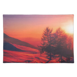 Snowy Evening Sunset Placemat
