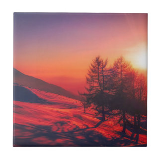 Snowy Evening Sunset Tile