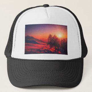 Snowy Evening Sunset Trucker Hat